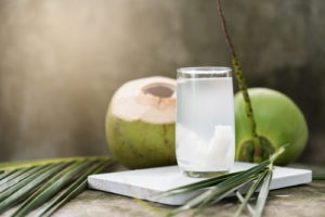 coconut meat and water