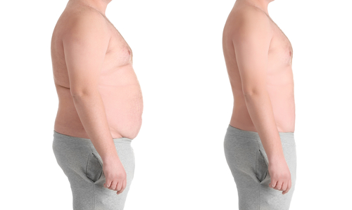 man showing before and after weight loss body
