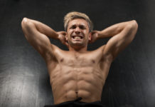 ripped guy intense ab workout crunches