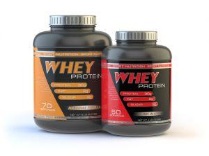 whey protein bottles