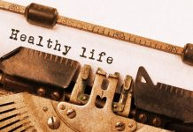 healthy life on vintage typewriter