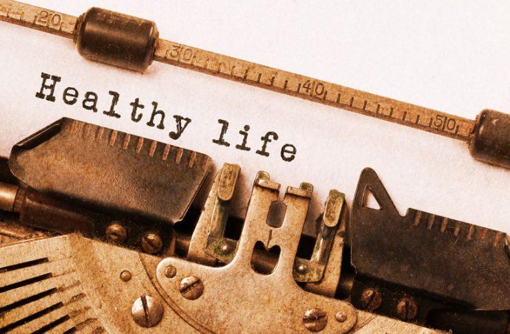 healthy life on vintage typewriter