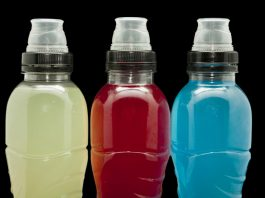 bottles of different flavored sports drinks