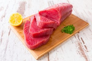 sliced fresh tuna slab