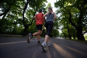 couple in a leisurely run